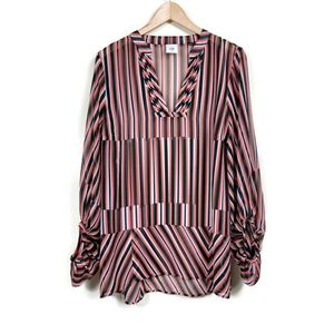 Cabi Striped Long Sleeve Sheer Blouse Size M